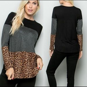 Black, Grey and Leopard Top